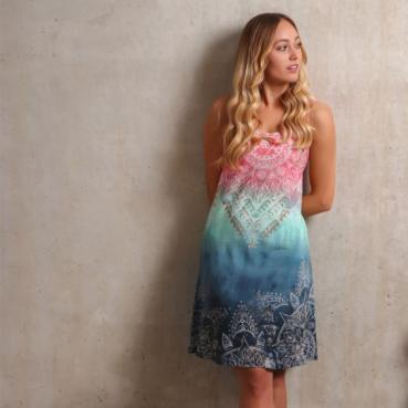 Sommerkleid, Trägerkleid bio indigo/peach