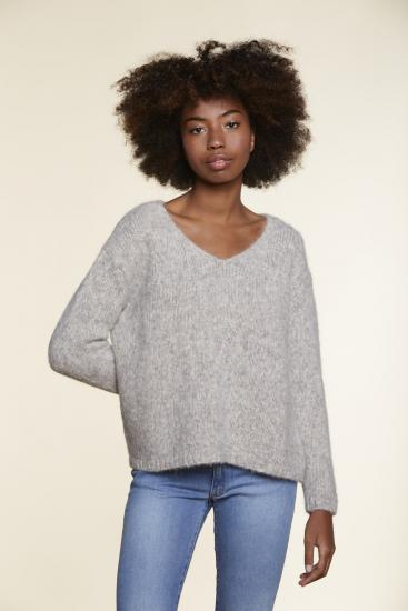 Sweater/Pulli, light grey, Alpaka - Les Racines du Ciel