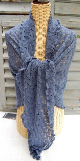 Invero Dreiecktuch Susi jeans 100% Merinowolle