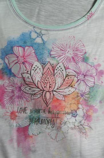 Shirt, Kurzarmshirt Lotus Aquarell, bio, The Spirit of OM